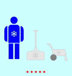 Snow removal set it is color icon vector