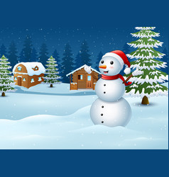 Snowman in front of the housing scene vector