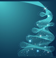 sparkling christmas tree made wave flow vector image