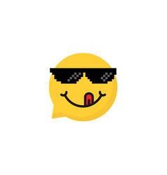 speech bubble emoji with tongue vector image