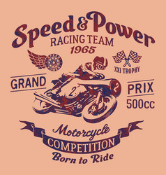 Speed power motorcycle racing team vector