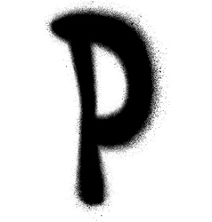 Sprayed P font graffiti in black over white vector