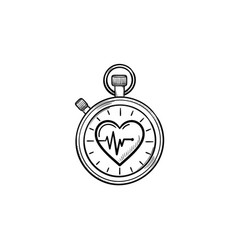 Stopwatch with heart symbol hand drawn outline vector