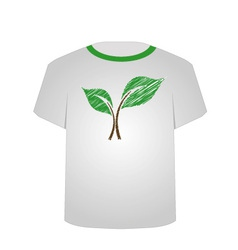 T Shirt Template- sketched seedling vector