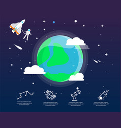 the earth infographic in universe concept vector image