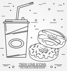 thin line icon donuts and soda for web design vector image