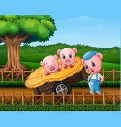 Three little pigs are in the cart vector