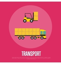 Transport banner with container truck vector