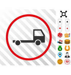 Truck chassis rounded icon with bonus vector