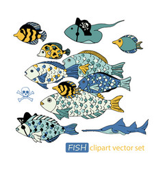 Underwater sea life pirate animals clipart vector