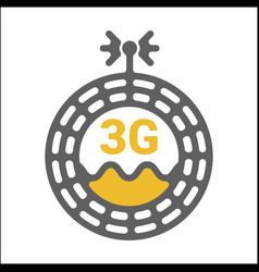 unusual flat 3g logo icon with geometric pattern vector image