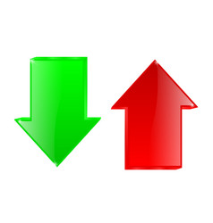 Up and down arrows red and green signs vector