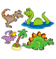 Various dinosaur collection vector