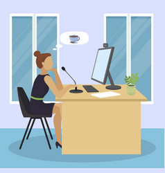 Video blogger girl online dtreaming thinking about vector