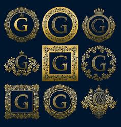 Vintage monograms set of g letter vector