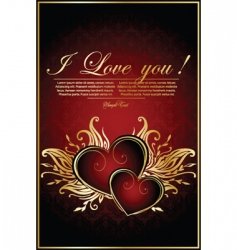 vintage red background with hearts vector image