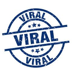 Viral blue round grunge stamp vector