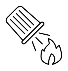 Water bucket extinguishing a fire thin line icon vector