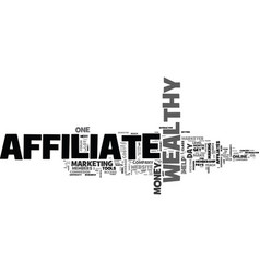 Wealthy affiliate review text word cloud concept vector