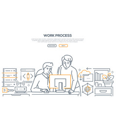 Work process - modern line design style banner vector
