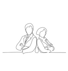 young man and woman work together in office vector image