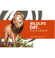 Zoo frame design with lion watercolor vector