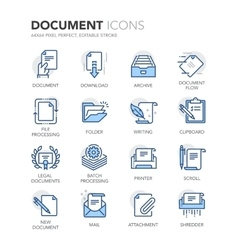 Blue line documents icons vector