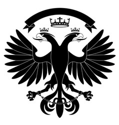 doubleheaded heraldic eagle with crown vector image vector image