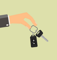 Hand holding car key buying or rent car vector
