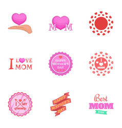 happy mother day icons set cartoon style vector image vector image