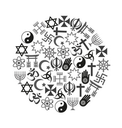 world religions symbols set of icons in circle vector image vector image