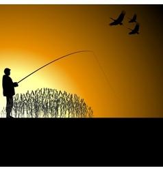 A fisherman on the lake vector image vector image