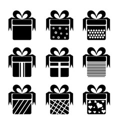 black gift box icons vector image vector image