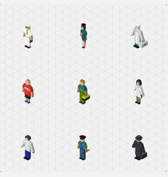 Isometric person set of plumber officer guy and vector
