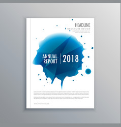 annual report brochure flyer design with blue ink vector image vector image