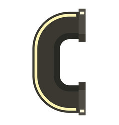 c joint black water pipe icon flat style vector image