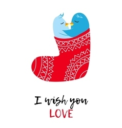 Christmas card with love pinguines vector image vector image