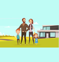 happy amicable family design concept vector image vector image