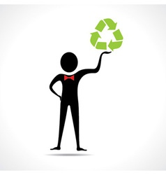 Man holding a recycle icon vector image