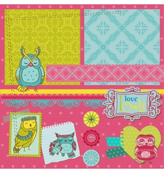 Scrapbook Design Elements - Little Owls vector image vector image