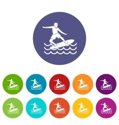Surfer set icons vector image vector image