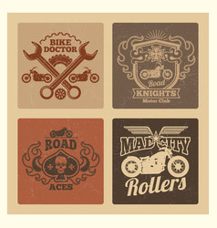 vintage grunge motorcycle label vector image