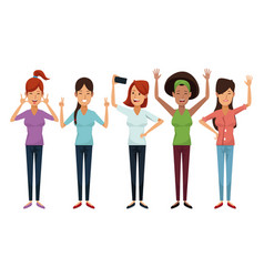 White background with colorful female group vector