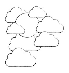 figure clouds covering the sun icon vector image