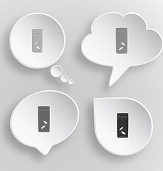 Glass with tablets White flat buttons on gray vector image