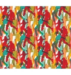 Happy dancing people color seamless pattern vector image