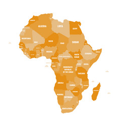 political map of africa in four shades of orange vector image vector image