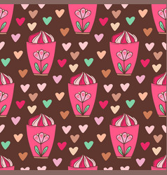 seamless pattern with ice creams bright wrapping vector image vector image