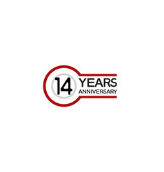 14 years anniversary with circle outline red vector