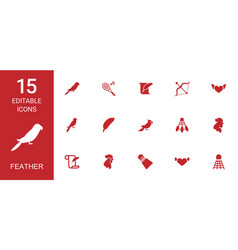 15 feather icons vector